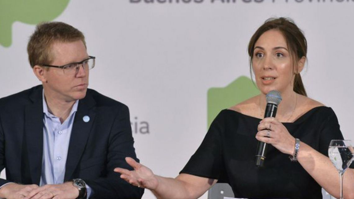 Buenos Aires Province Governor María Eugenia Vidal (right) speaks during a press conference.
