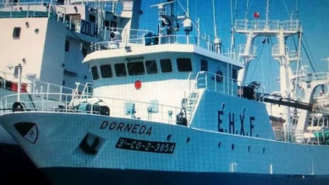 Handout photo from Argentine Navy shows the sunken Spanish fishing vessel Dorneda.
