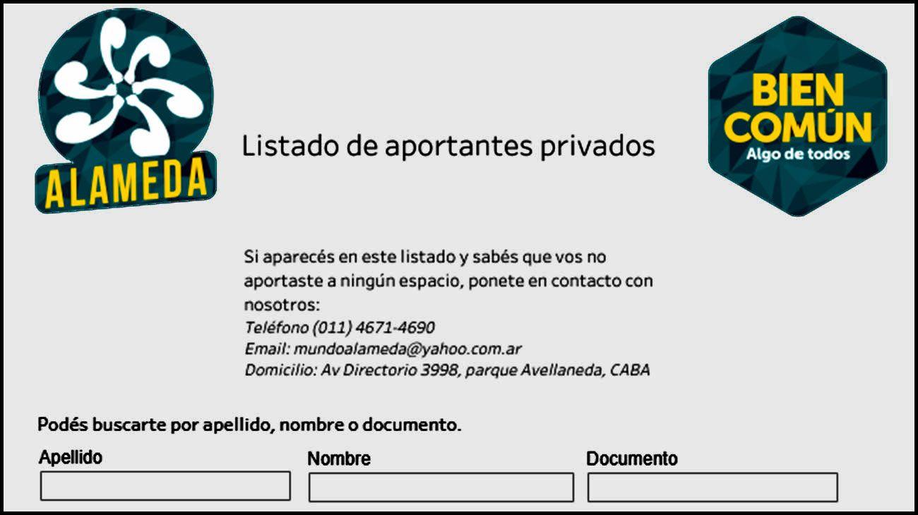 La ONG La Alameda desarrolló una herramienta para buscar por apellido, nombre o documento los aportantes privados de los partidos políticos en las últimas elecciones legislativas.