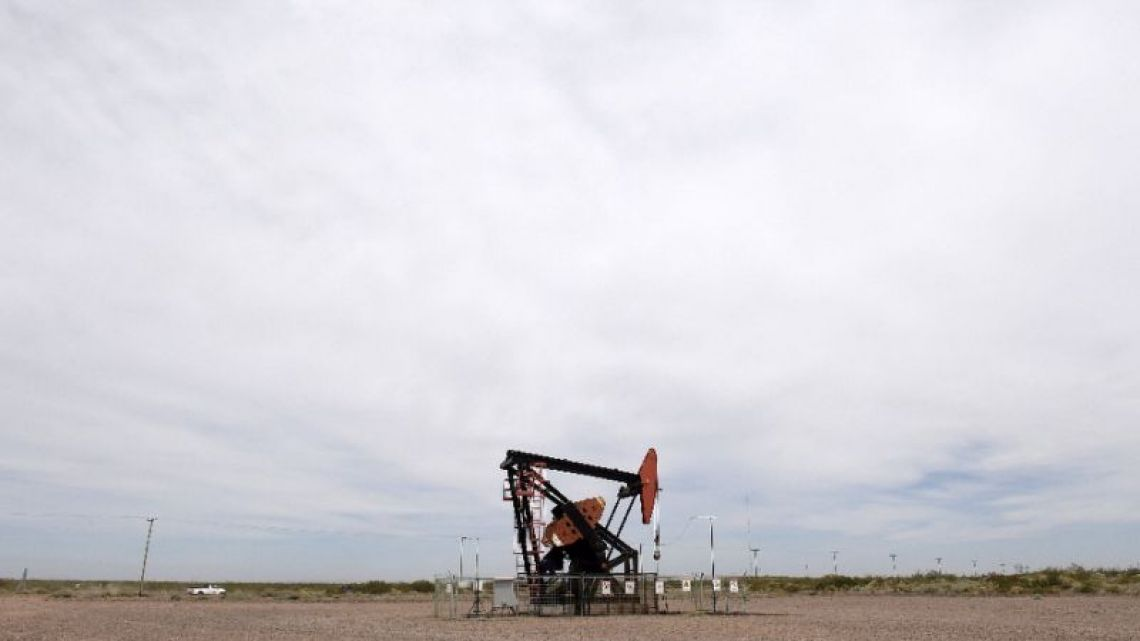 A pumpjack belonging to YPF is seen in Vaca Muerta shale oil reservoir, in the Patagonian province of Neuquén.