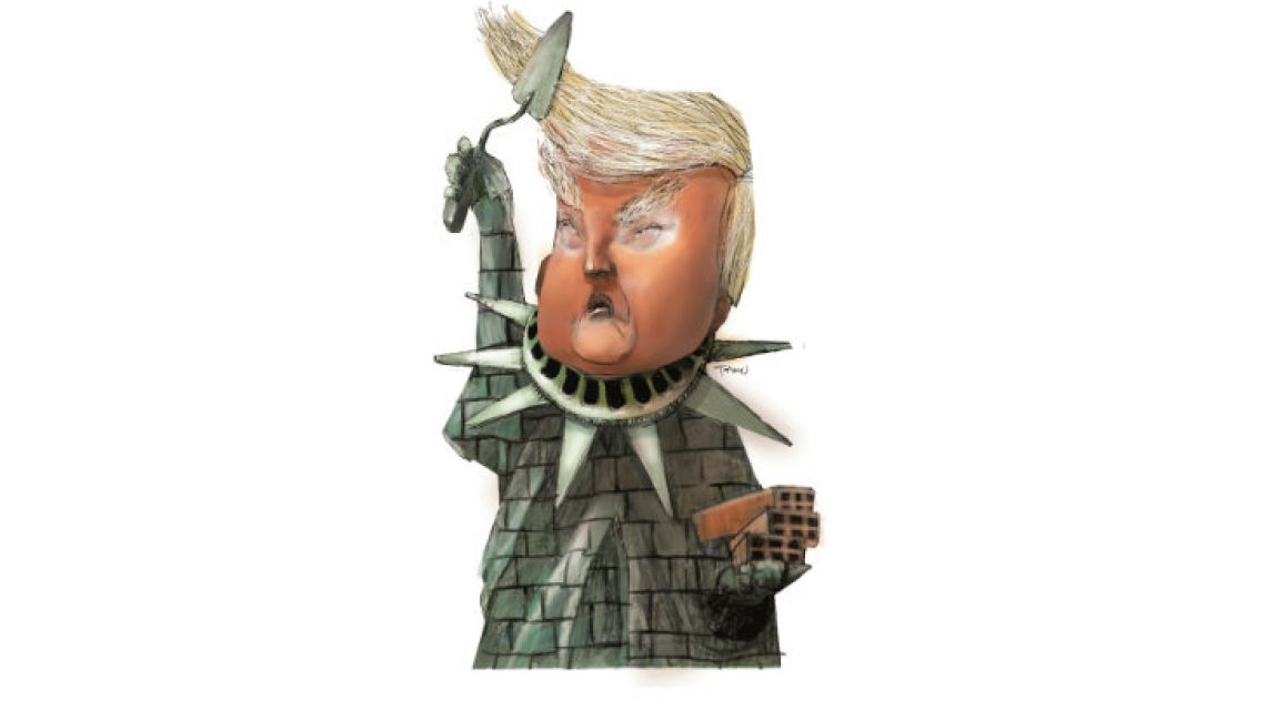 Trump as the Statue of Liberty transformed into a concrete wall.