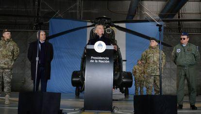Mauricio Macri, en Campo de Mayo, al anunciar el nuevo rol de las Fuerzas Armadas