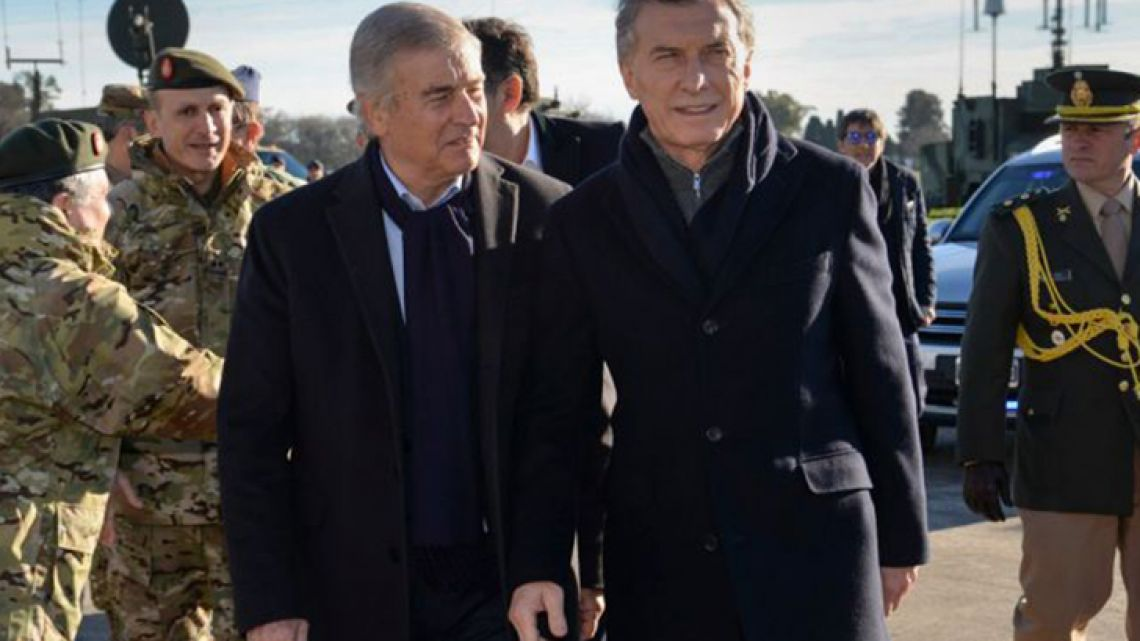 President Mauricio Macri and Defence Minister Oscar Aguad.