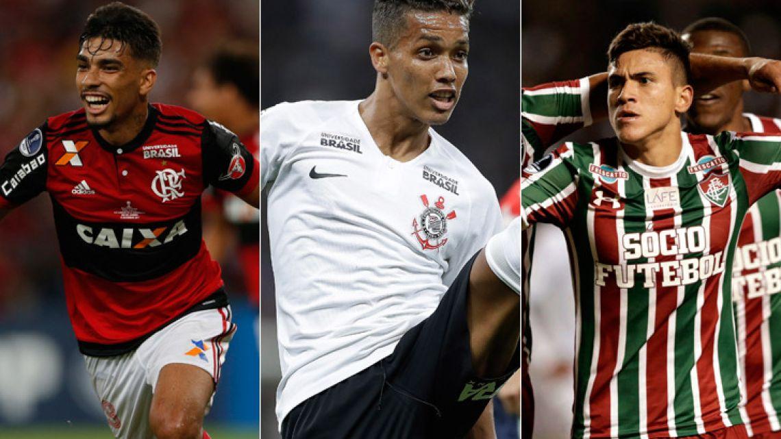 Lucas Paquetá of Brazil's Flamengo (left), Pedrinho of Brazil's Corinthians (centre) and Pedro of Brazil's Fluminense (right).