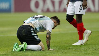 La frustración de Lionel Messi luego de la eliminación ante Francia.