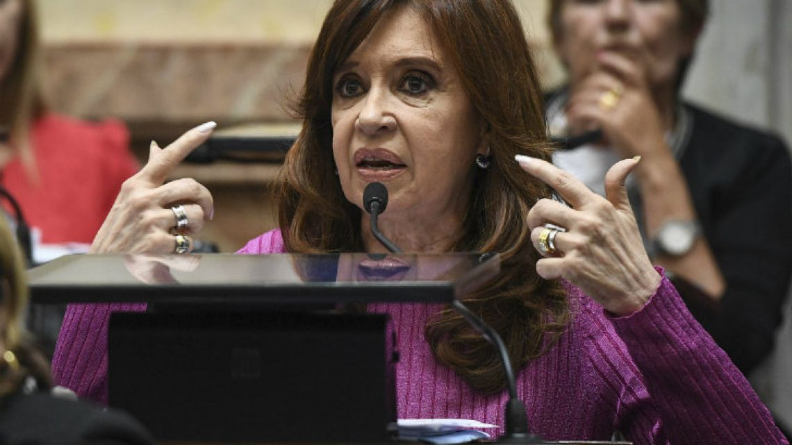 Senator for Buenos Aires province, Cristina Fernández de Kirchner, pictured in a file photograph from May earlier this year.