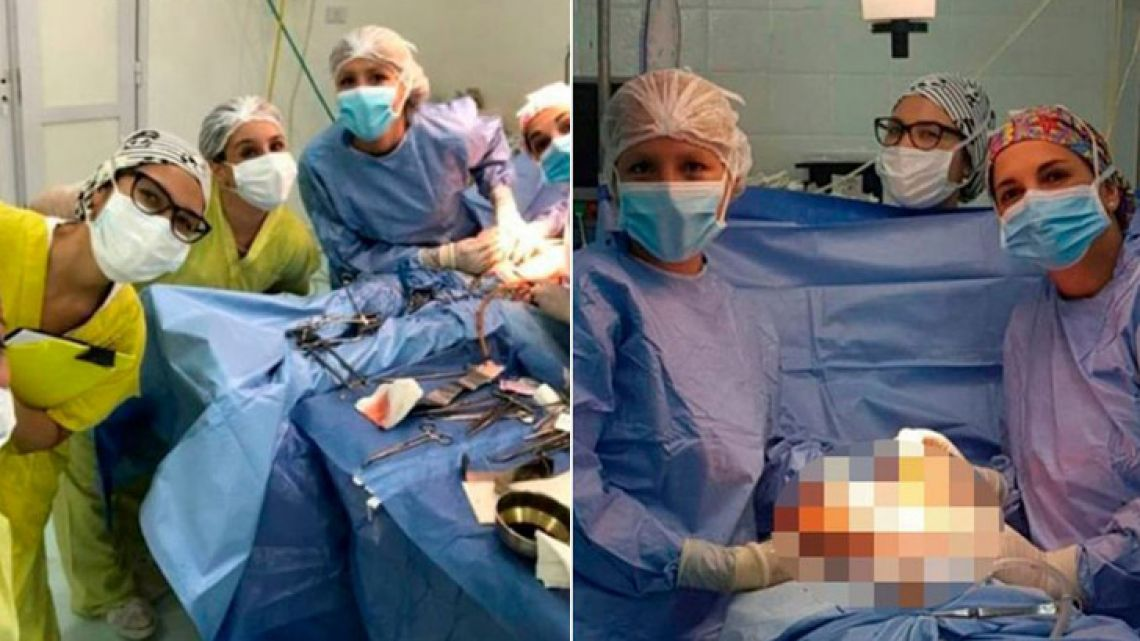 Five healthcare professionals have been suspended after taking photographs, later shared on Instagram, of themselves posing alongside patient's gaping wound.