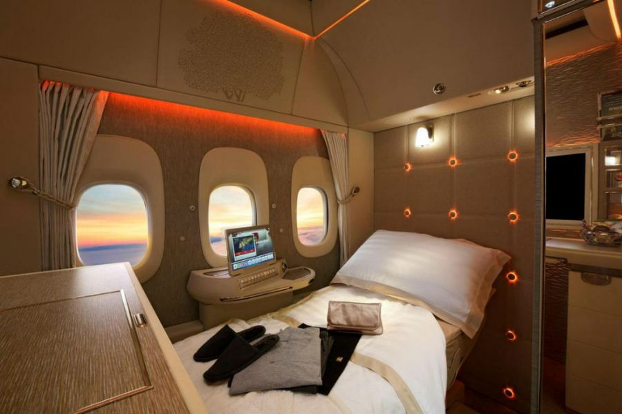 Dormitorio en Emirates First-Class