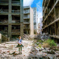 Calle en ruinas de Gunkanjima Island