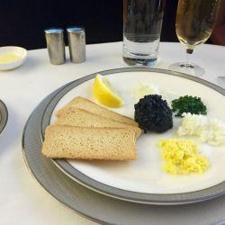 Menú de primera clase en Singapore Airways