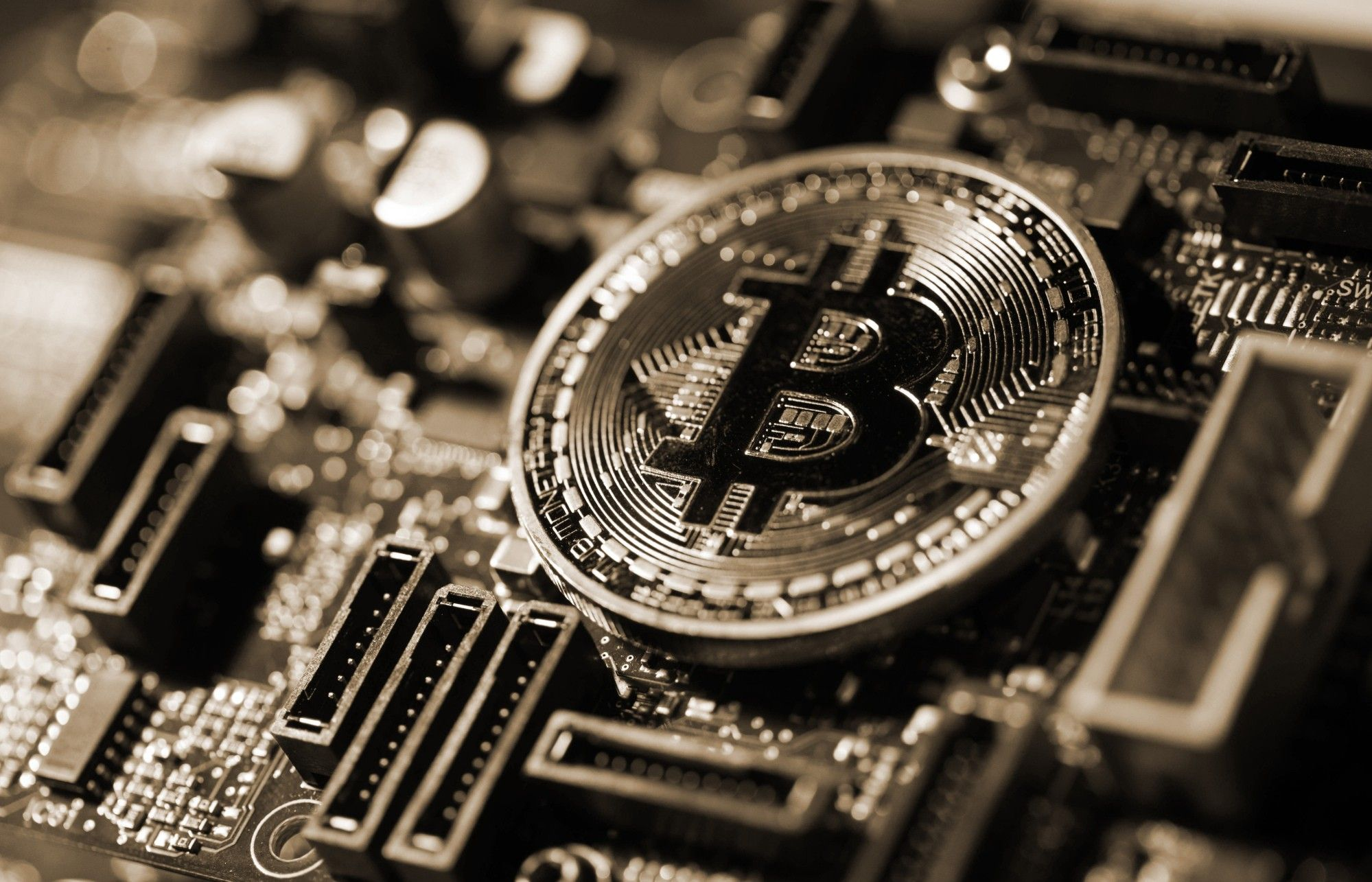 A coin representing Bitcoin cryptocurrency