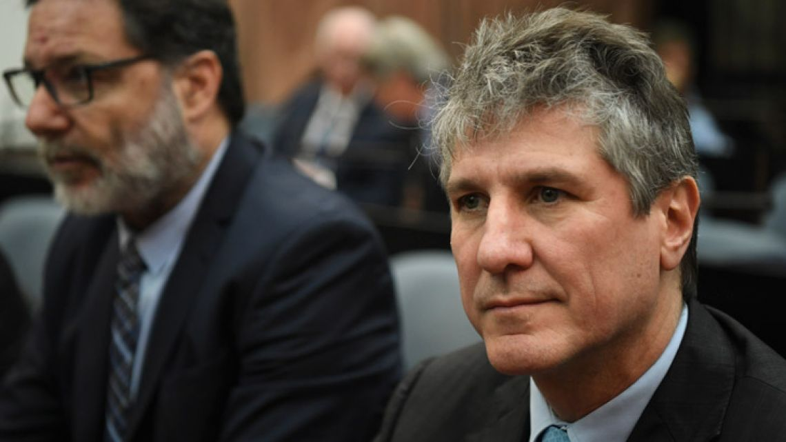Former vice-president Amado Boudou attends his trial on corruption charges at the Comodoro Py federal courts in Buenos Aires.