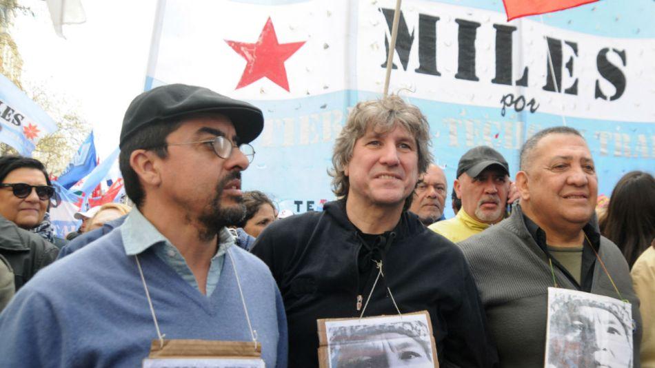 Amado Boudou junto a Fernando Esteche y Luis D'Elía.