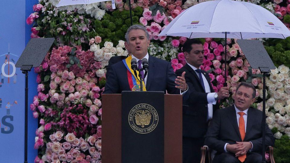 Iván Duque pronuncia un discurso en el marco de la ceremonia de su posesión en Bogotá, Colombia.