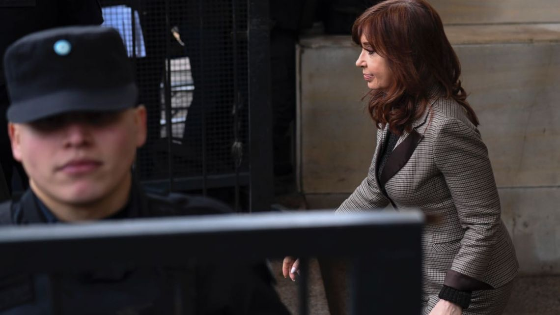 Former president-cum-Senator Cristina Fernández de Kirchner leaves court in Buenos Aires on Monday August 13, 2018.