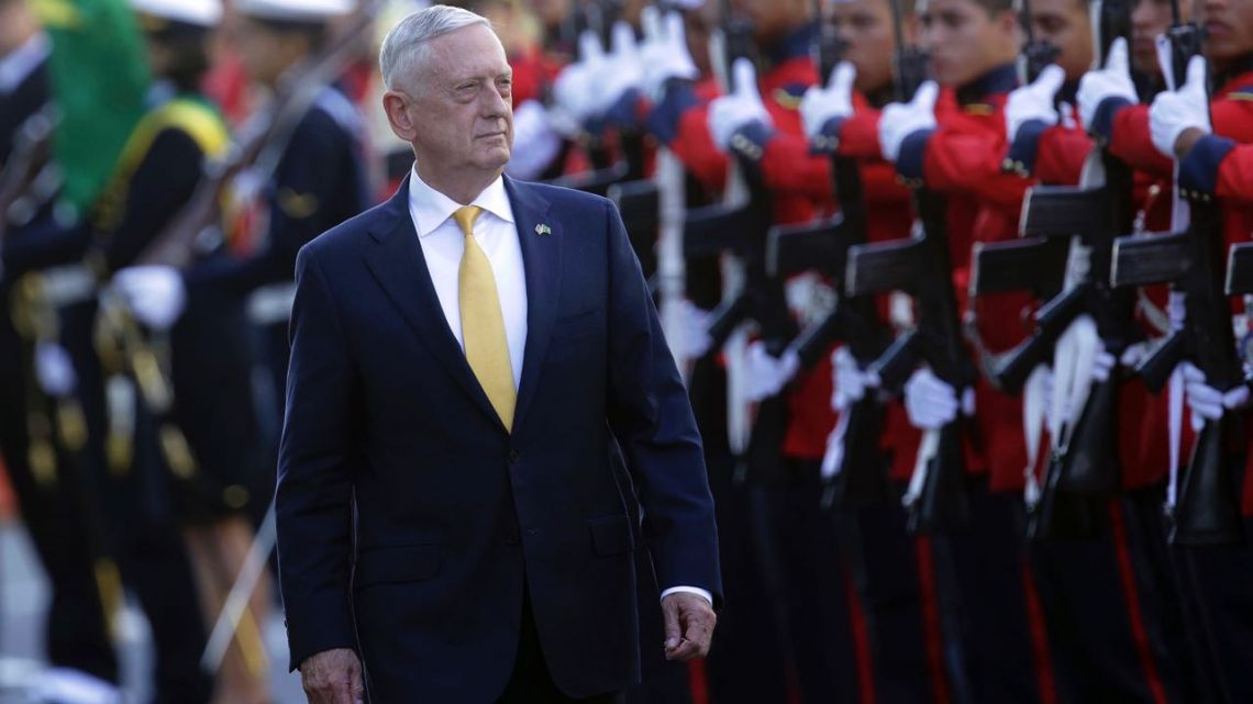 US Secretary of Defence Jim Mattis receives military honours before his meeting with Brazil's defence minister, in Brasilia, August 13, 2018.