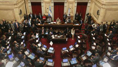 Vista del recinto de la Cámara alta durante la sesión en la que se iba a tratar el pedido de allanamiento a la ex presidenta Cristina Kirchner.