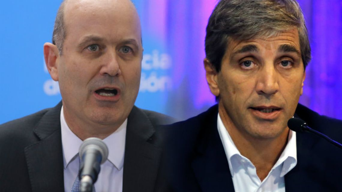 Former Central Bank boss Federico Sturzenegger (left) and his replacement, Luis Caputo (right).