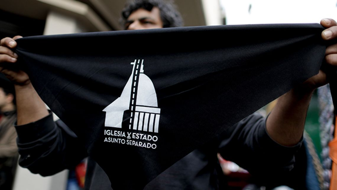 People rallied in Buenos Aires on Saturday as part of a nationwide movement in the homeland of Pope Francis to file forms with their name and signature to renounce their religious affiliation, after a bill to legalise elective abortions in the first 14 months of pregnancy was finally rejected by Senators in recent weeks.