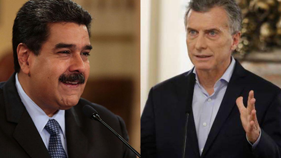 President Nicolás Maduro (left), of Venezuela, and President Mauricio Macri, of Argentina.