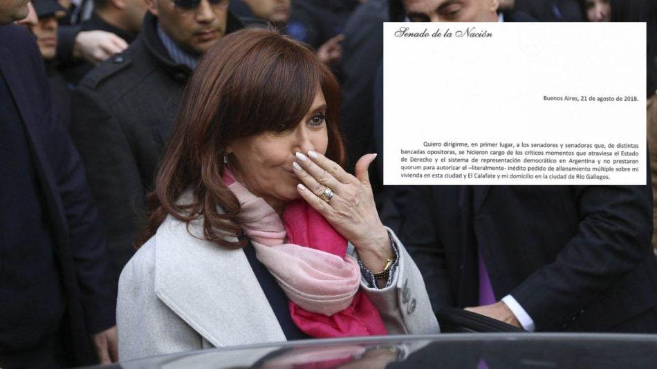 Cristina Fernández de Kirchner envió una carta al Senado