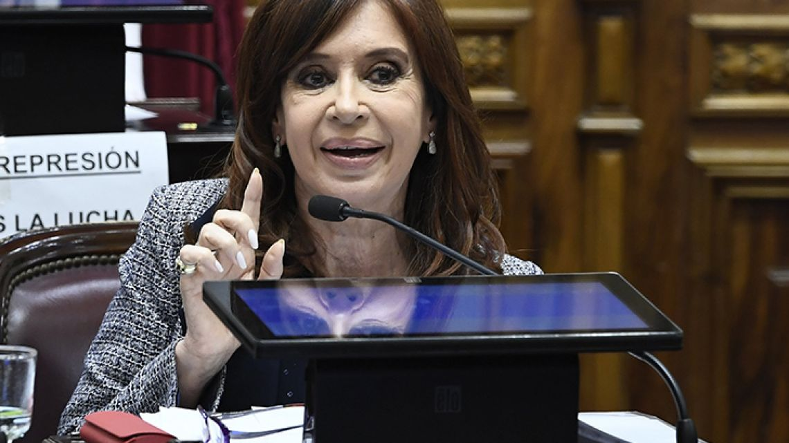 Former president and senator for Buenos Aires Province, Cristina Fernández de Kirchner, delivers a speech at Congress on Wednesday evening.