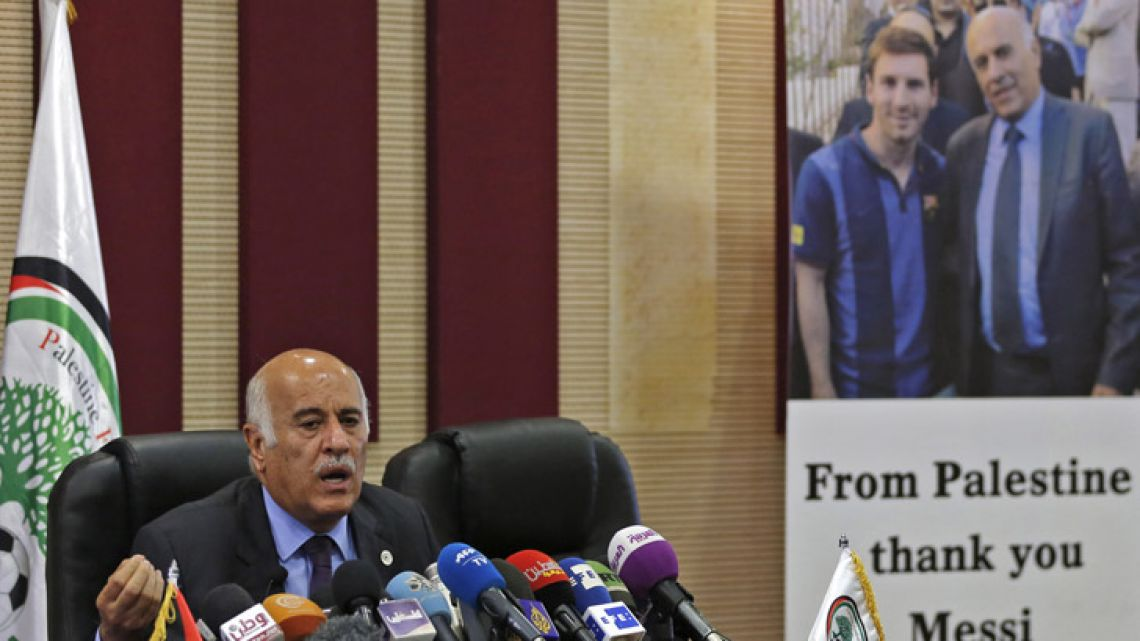Jibril Rajoub, the head of the Palestinian Football Association, speaks during a press conference in June in the West Bank city of Ramallah.