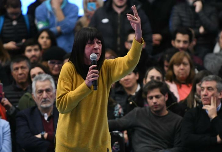Diana Conti fue otra de las oradoras en el acto del kirchnerismo.