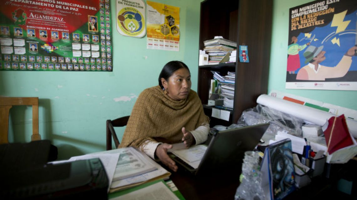Councilwoman Mary de la Cruz speaks during an interview in Achocalla, Bolivia. De la Cruz says the mayor of Achocalla, Dámaso Ninaja, hit her after she pointed out irregularities in his handling of public work contracts. Before the attack, she says Ninaja had been spreading false rumours that she was unfaithful to her partner.