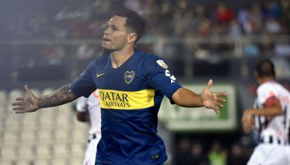 Zárate celebra su gol ante Libertad.