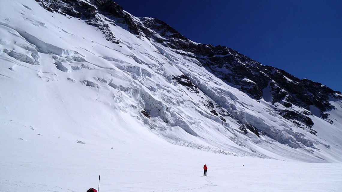 Scientists working at the Cerro Bologna glacier in the metropolitan region of Santiago, Chile.
