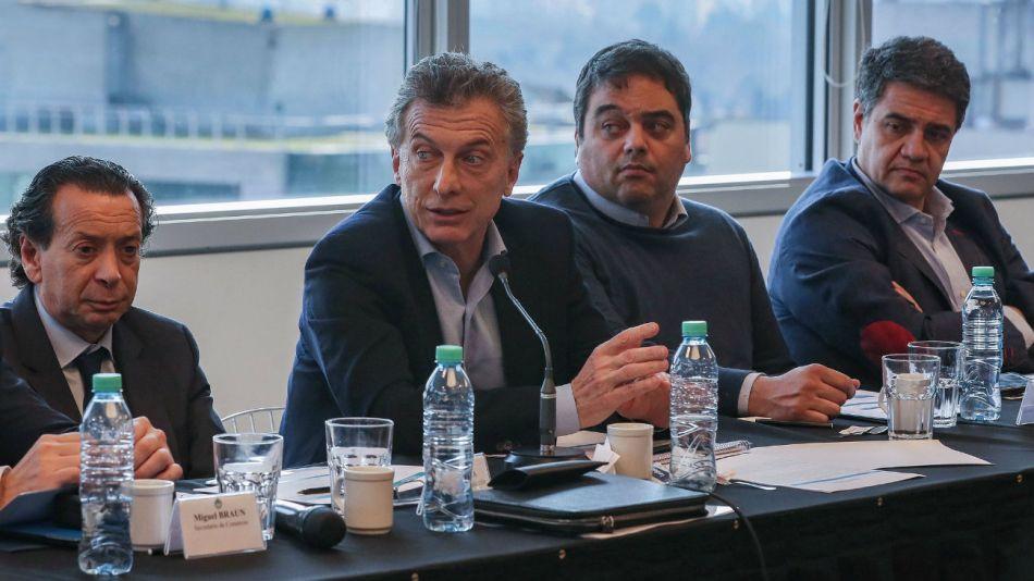 Mauricio Macri durante la reunión de la Mesa de Comercio. 20180901