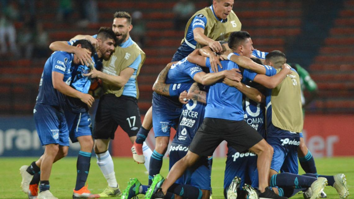Atlético Tucumán's players after clinching qualification for the Copa Libertadores quarter finals, after their match against Colombia's Atlético Nacional in Medellin last Tuesday.