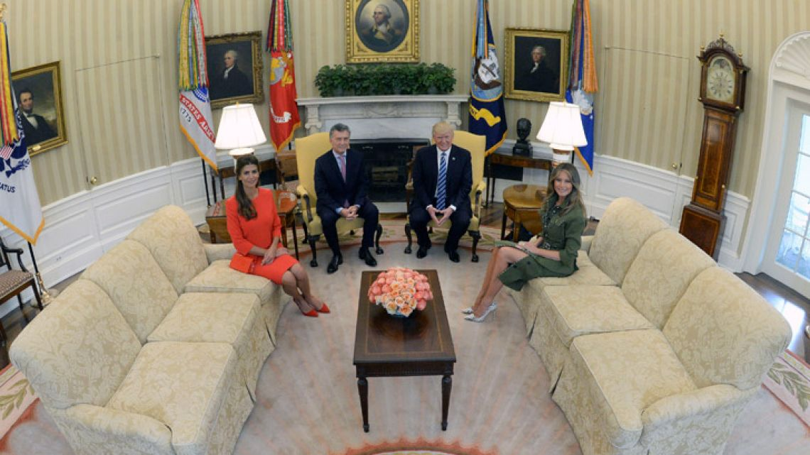 First Lady Juliana Awada, President Mauricio Macri, US President Donald Trump and US First Lady Melania Trump, in this file photograph taken during the Argentine leader's visit to Washington in late 2017.