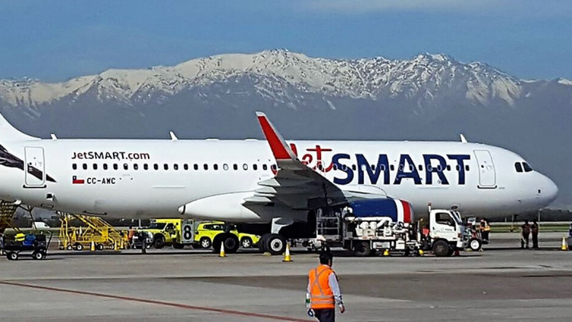 A JetSmart plane at Santiago's International Airport.