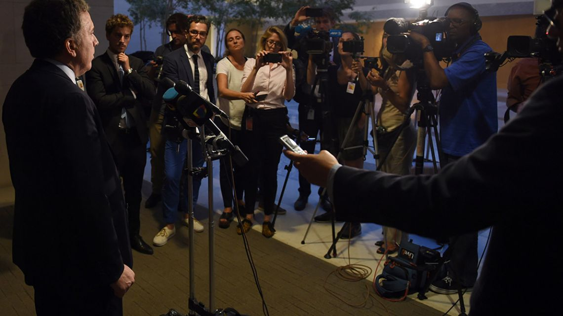 Nicolás Dujovne speaks to the press after talks with International Monetary Fund officials in Washington DC yesterday.