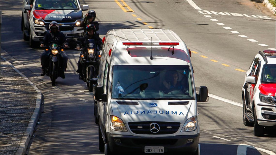 View of the ambulance transporting Brazilian right-wing presidential candidate Jair Bolsonaro as it arrives at the Albert Einstein Hospital in São Paulo.