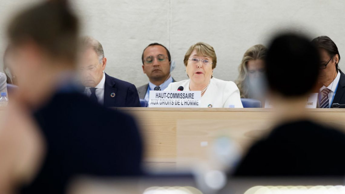 UN High Commissioner for Human Rights Chilean Michelle Bachelet addresses her statement during the opening of 39th session of the Human Rights Council, at the European headquarters of the United Nations in Geneva, Switzerland.