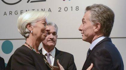 El presidente Mauricio Macri con la titular del FMI Christine Lagarde.