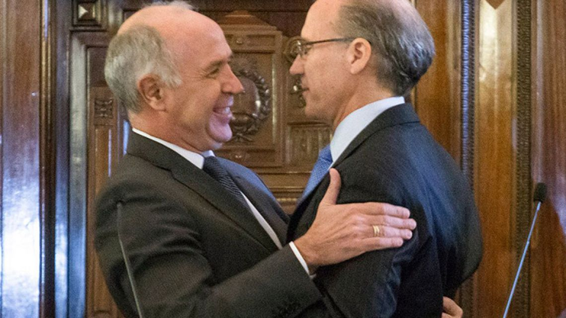Justice Ricardo Lorenzetti (left) with his replacement as president of the Supreme Court, Justice Carlos Rosenkrantz.