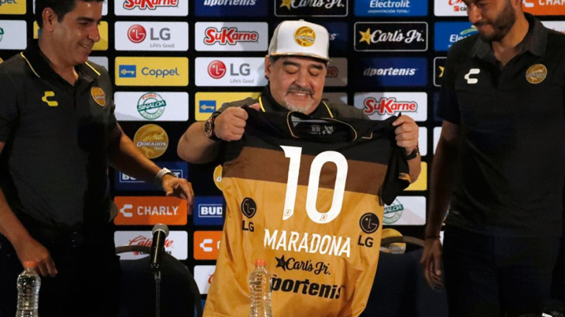 Diego Maradona, pictured during a press conference where he was presented as the new manager of the Dorados of Sinaloa, in Culiacán, Mexico.