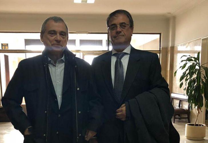 Antonio Horacio Jaime Stiuso junto a su abogado Santiago Blanco Bermudez