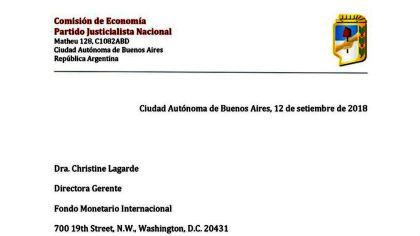 El encabezado de la carta del PJ al FMI, firmada por Guillermo Moreno.
