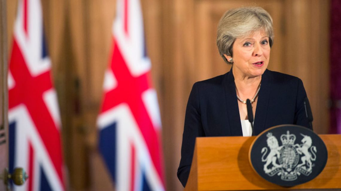 British Prime Minister Theresa May makes a statement on Brexit negotiations with the European Union, at 10 Downing Street, London.