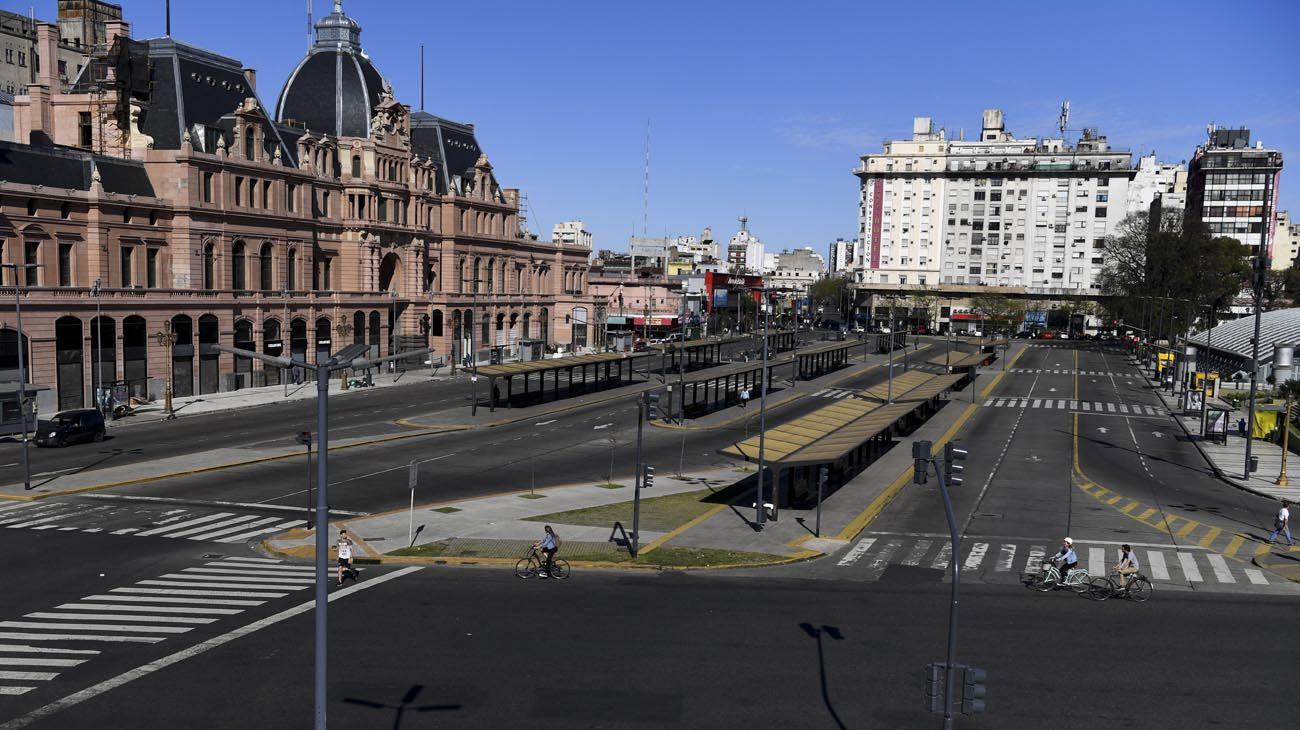 imágenes de la ciudad de Buenos Aires en una nueva jornada de paro nacional.