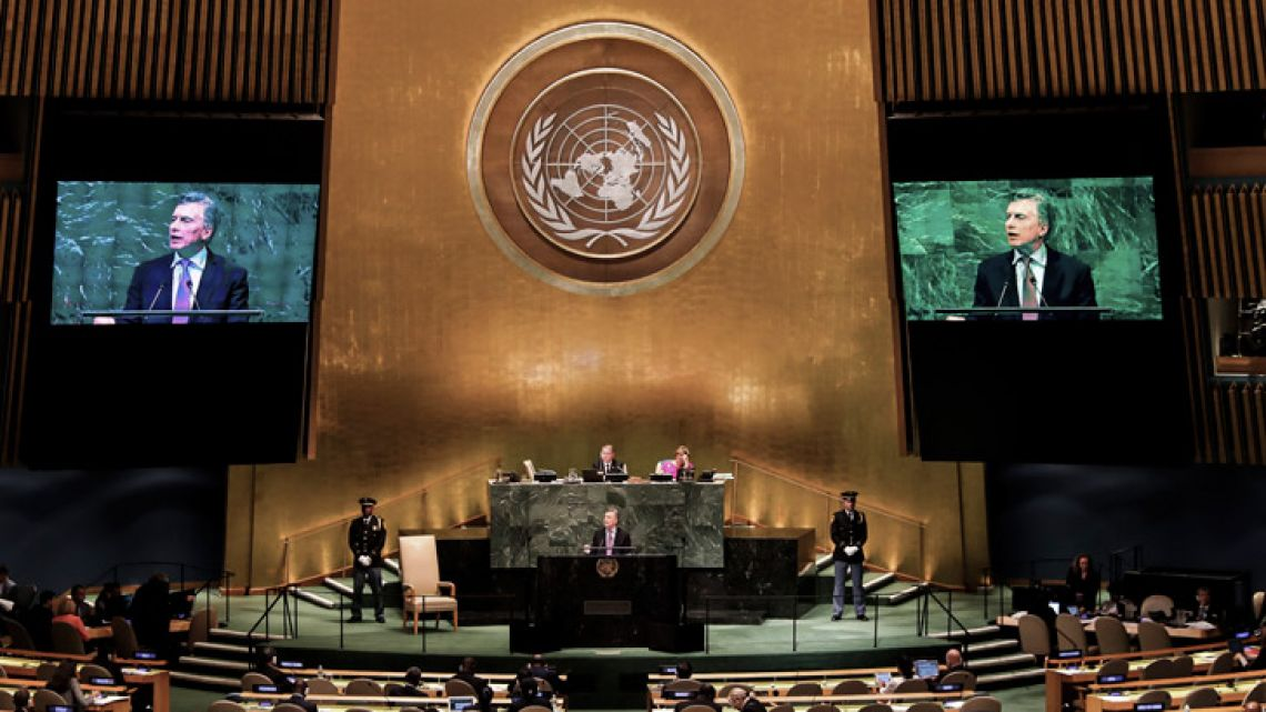 President Mauricio Macri addresses the UN General Assembly in New York on Tuesday.