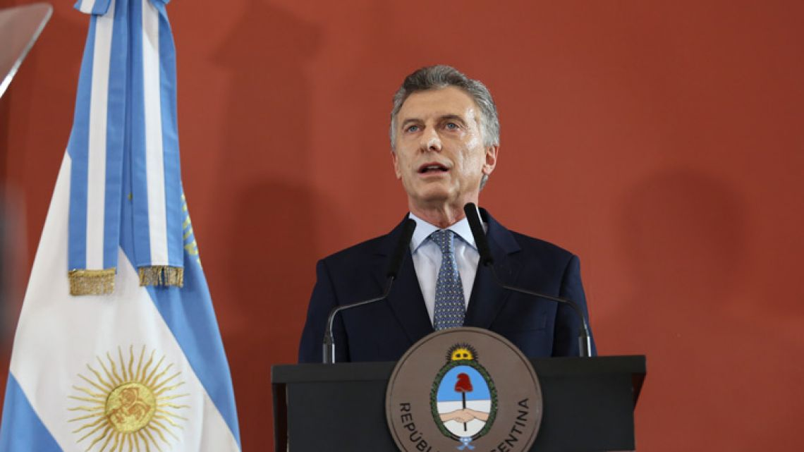 President Mauricio Macri holds a press conference.