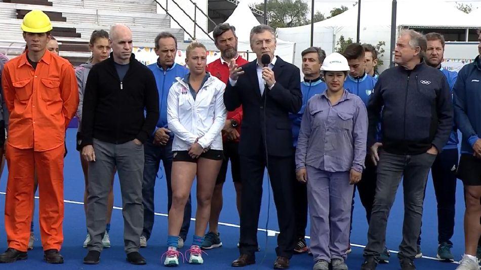 Macri y Larreta en la presentación oficial de la Villa Olímpica.