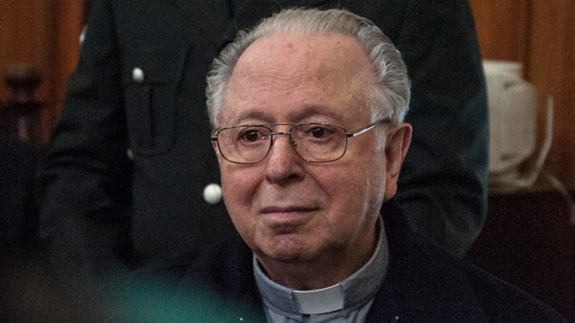 In this file photo taken on November 11, 2015 Chilean priest Fernando Karadima appears in court of Santiago to testify in a civil lawsuit against the Archdiocese of Santiago for allegedly sexual abuse cover up. Pope Francis on September 28, 2018 removed Karadima, a former Chilean charismatic priest convicted of pedophilia, whose case had poisoned the trip of the Argentine pontiff to Chile in January.