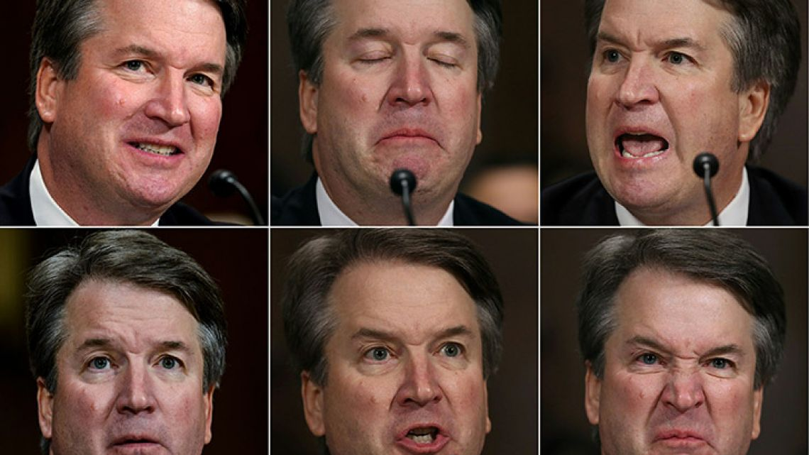 This combination of pictures created on September 27, 2018 shows US Supreme court nominee Brett Kavanaugh as he testifies before the Senate Judiciary Committee on Capitol Hill in Washington, DC on September 27, 2018.